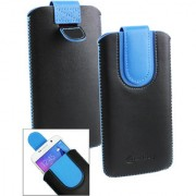 Emartbuy Black / Blue Plain Premium PU Leather Slide in Pouch Case Cover Sleeve Holder ( Size LM2 ) With Pull Tab Mechanism Suitable For Lava A82