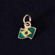 Semi Pendant Jewelry Gold Plated Flag of Brazil