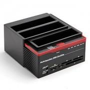 Triple Disque Dur 2.5 3.5 Station Accueil Dock USB SATA IDE / HUB + Lecteur de Carte Flash + OTB