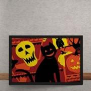 Quadro Decorativo Gato Halloween 25x35