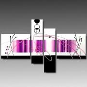 4 Quadri Astratti Vari Formati Dipinti a Mano Pink
