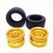 Lego Parts: Tire/Rim Bundle (2) Black 43.2 x 22 ZR Tires (2) Pearl Gold 30.4mm x 20mm Wheel Rims