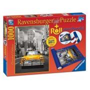 Puzzle New York Taxi, 1000 piese + suport pentru rulat