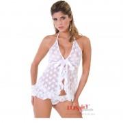Camisola Branca Sexy Curta em Tule com Calcinha Fabiana - MS438