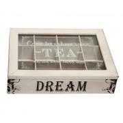 Cutie, din lemn, pentru ceai, cu 12 compartimente