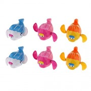 Magideal Mini Coloful Fish Wind Up Toy for Kids Bathtime Water Play Set of 6 Pcs