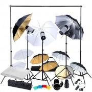 vidaXL Студийно осветление 3 светкавици и 9 чадъра