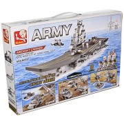 9-in-1 Aircraft Carrier Model Army Navy Multi-Role Military Vehicle Set Compatible With Other Major Building Block Brands - Bundle