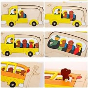 Magideal Wooden Multilayer Jigsaw Cartoon Educational Toy For Kid School Bus Theme