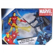 Marvel Universe Year 2009 EXCLUSIVE 2 Pack 4 Inch Tall Action Figure Set - IRON MAN with Fireblast vs. BLACK PANTHER with Lo