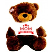 2 feet brown teddy bear wearing MOM Your the best T-shirt