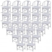 BQLZR White Scale 1:25 Plastic Unpainted Dollhouse Backrest Chair Living Room Bedroom Layout Furniture Pack of 50