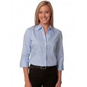 Ladies Fine Twill 3/4 Sleeve Shirt - Pale Blue 12