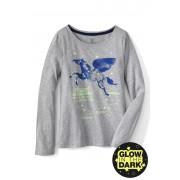 ランズエンド LANDS' END ガールズ・ピコット・光るグラフィックT/長袖【キッズ・子供服・女の子】(ペガサス)