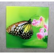 glasschilderij vlinder + bloem 20 cm