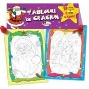 Tablouri de Craciun - 15 tablouri de colorat + 6 creioane colorate