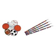 12 Sports Pencils and Memo Pads/Childrens Stationery/Party Favors