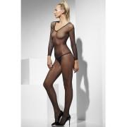 Costum sexy femei body plasa cu maneci