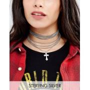 Regal Rose Cross My Heart Multi Layered Cross Charm Choker - Silver (Sizes: )