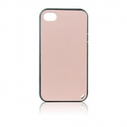 Калъф силиконов с кожен гръб Fashion Style за IPhone 4s розов