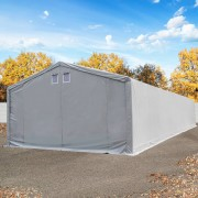 Intent24 Hangar 6x16m, porte 4x3,3m, toile PVC de 550 g/m², gris