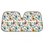 """BDK Butterfly SunShade - Folding Accordion - Colorful Butterflies Surreal Stencil - 58"""" x 28"""""""