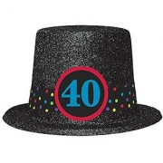 The Party Continues 40th Birthday Glittered Top Hat Black Plastic