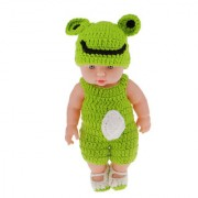 Magideal 11\ Lifelike Baby Dolls Silicone Vinyl Soft Newborn Doll In Green Knit Suit