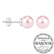 Silvego Stříbrné náušnice puzetkové s růžovou perlou Swarovski(R) - VSW045