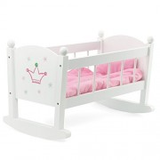 Baby Doll Cradle or Crib Rocking Furniture | Fits Baby Dolls and 18 Inch Dolls | Includes Mattress &