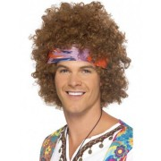 Vegaoo Braune Afro-Hippie-Perücke für Herren