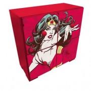 Gaveteiro de Mesa Mulher Maravilha Vermelho Quadrinhos HQ DC Comics Gaveteiro de Mesa Mulher Maravilha Madeira Quadrinhos HQ DC Comics
