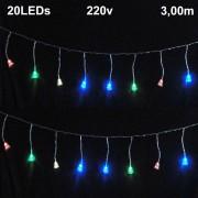 Cascata Luminosa 20 LEDs Sino 220v 3m Fio Transparente 1813
