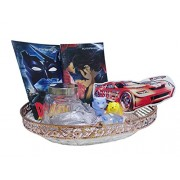 Car Lover Gift Hamper for Boys / Gift for Brother on Christmas / Gift combo contains Hot Wheels Car sticker, Car shaped Glass Container, 3 Different shape Sharpeners, and 2 Activity Books Packed in beautiful Basket.