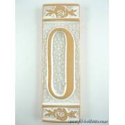 Numero civico ceramica con fiore bianco nfb10