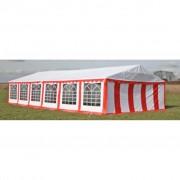 vidaXL Покрив и странични панели за градинска шатра 12 х 6 м, червено бяло