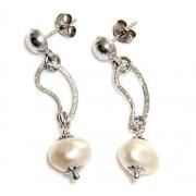 Argento 925 : orecchini donna sposa pallina e pendente con perla coltivata