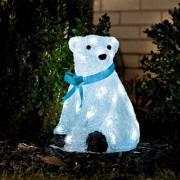Konstsmide LED Baby-Eisbär, sitzend mit blauer Schleife