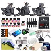 Dragonhawk Complete Tattoo Kit 3 Pro Tattoo Machines Gun 11 Colors Immortal Tattoo Ink Power Supply 50 Needles Tips Grips 3-1