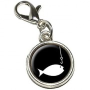 Graphics and More Fish Fishing Fisherman Antiqued Bracelet Pendant Zipper Pull Charm with Lobster Clasp