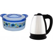 Grind Sapphire Gs55- casserole with White cherry Electric Kettle(2 ltr L, silver)