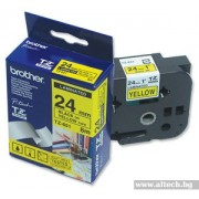 BROTHER TZ Tape, 24mm Black on Yellow, Laminated, 8m lenght, for P-Touch (TZE651)