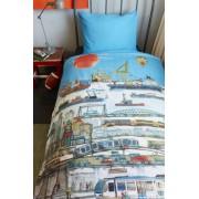 Lenjerie de pat copii Oras Port - Bleu
