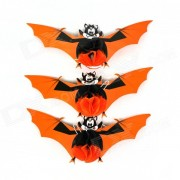 Halloween Decorative Paper Bats - Orange + Black + Multi-Color (3 PCS)