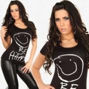 """Tshirt noir avec motif smiley et message """"Be Happy"""""""