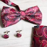 Set 3 accesorii masculine, model rosu cu verde