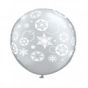 Baloane latex Jumbo 3 ft inscriptionate Snowflakes & Circles Diamond Clear, Qualatex 60281, 1 buc