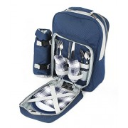 Greenfield Collection Luxury Two Person Picnic Backpack - Midnight Blue