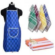 Hdecore Combo Of Kitchen 1 Apron 2 Face Towel 4 Napkin