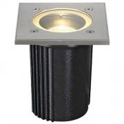 SLV 228434 Passable low voltage ground recessed light DASAR EXACT GU10 recessed ground light, angular, stainless steel 316, max, 35W, IP67, Aluminium, silver-grey, , ,